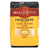 Fairtrade Natural Light Brown doux sucre de canne non raffiné de Billington (de 500g) - Paquet de 6